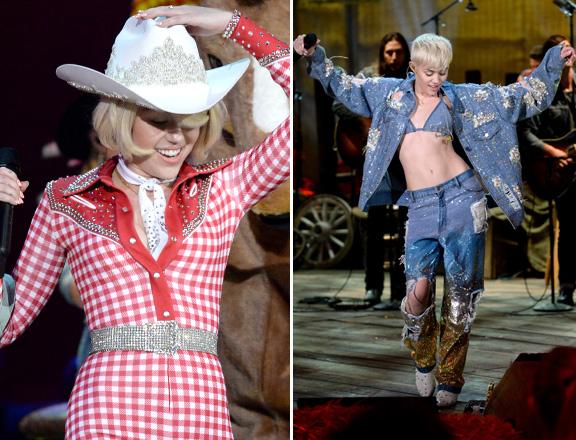 Miley disse, mais tarde  no Instagram, que se inspirou na madrinha Dolly Parton para os looks da apresentação